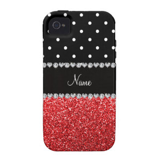 Personalized name black polka dots red glitter vibe iPhone 4 covers