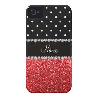 Personalized name black polka dots red glitter iPhone 4 covers