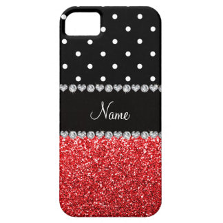 Personalized name black polka dots red glitter iPhone 5 cases