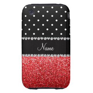 Personalized name black polka dots red glitter iPhone 3 tough cases