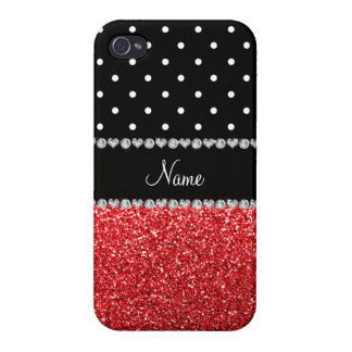 Personalized name black polka dots red glitter iPhone 4/4S case