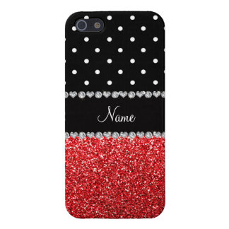 Personalized name black polka dots red glitter covers for iPhone 5
