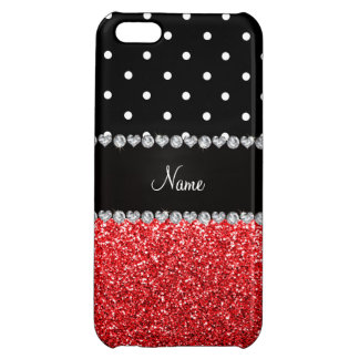 Personalized name black polka dots red glitter iPhone 5C covers