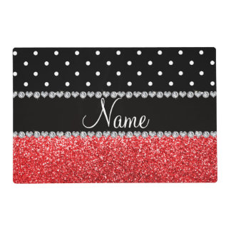 Personalized name black polka dots red glitter laminated place mat