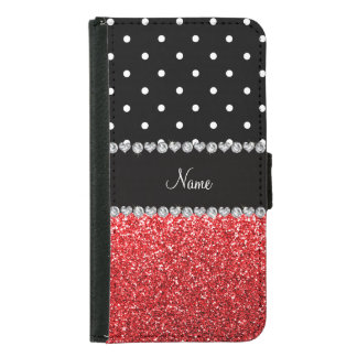 Personalized name black polka dots red glitter