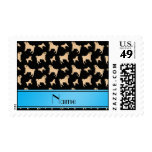 Personalized name black Pug dogs Postage