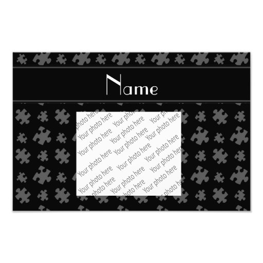 Personalized name black puzzle photographic print