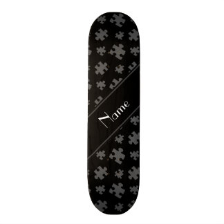 Personalized name black puzzle skateboard decks