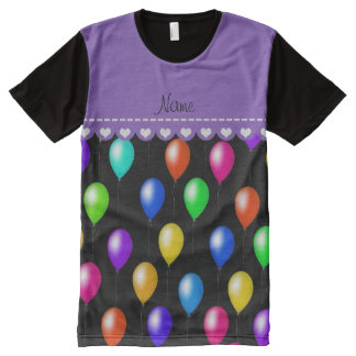 Personalized name black rainbow birthday balloons All-Over print t-shirt