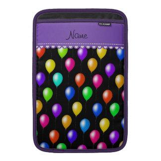 Personalized name black rainbow birthday balloons MacBook air sleeve