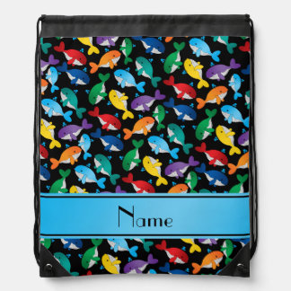 Personalized name black rainbow blue whales drawstring backpack
