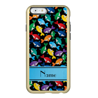 Personalized name black rainbow blue whales incipio feather shine iPhone 6 case
