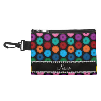 Personalized name black rainbow buttons pattern accessory bag