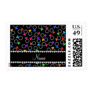 Personalized name black rainbow diamond rings postage stamps