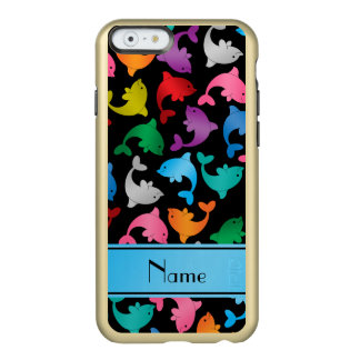 Personalized name black rainbow dolphins incipio feather shine iPhone 6 case