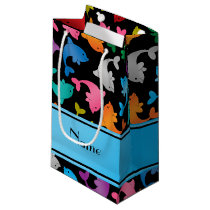 Personalized name black rainbow dolphins small gift bag