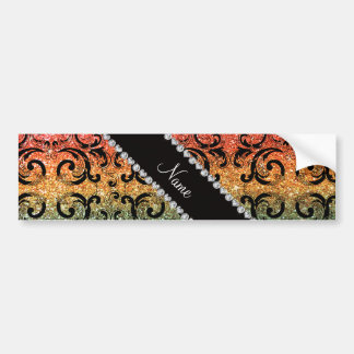Personalized name black rainbow glitter damask car bumper sticker