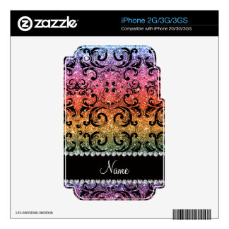 Personalized name black rainbow glitter damask iPhone 2G decal