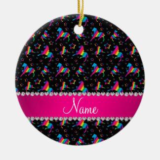 Personalized name black rainbow horses stars ceramic ornament