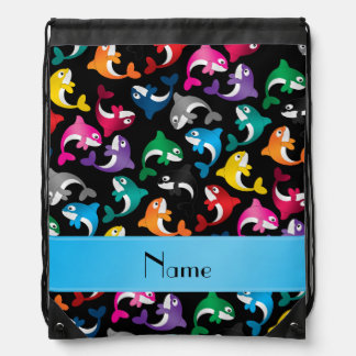 Personalized name black rainbow killer whales drawstring backpack