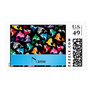 Personalized name black rainbow killer whales postage stamp