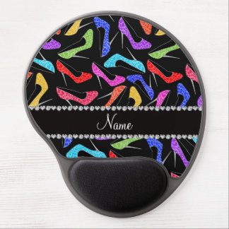 Personalized name black rainbow leopard high heels gel mouse pad
