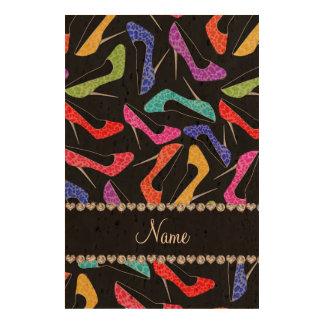 Personalized name black rainbow leopard high heels queork photo print