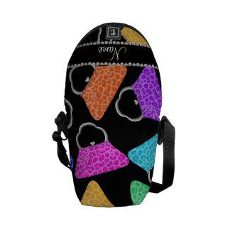 Personalized name black rainbow leopard purses messenger bag