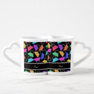 Personalized name black rainbow leopard purses lovers mugs