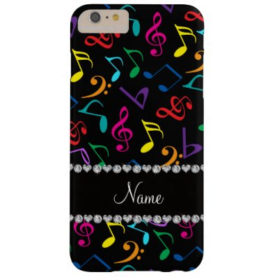 Personalized name black rainbow music notes barely there iPhone 6 plus case
