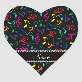 Personalized name black rainbow music notes heart sticker