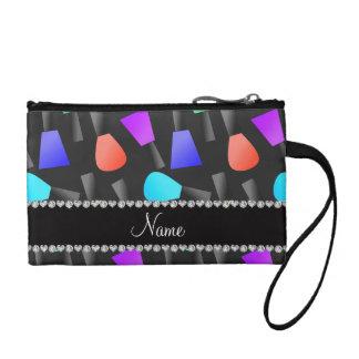 Personalized name black rainbow nail polish coin purses