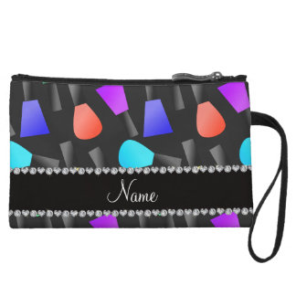 Personalized name black rainbow nail polish wristlet