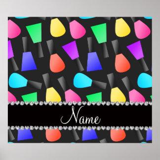 Personalized name black rainbow nail polish poster