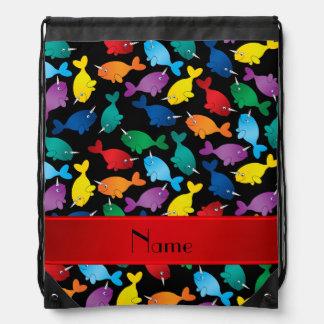 Personalized name black rainbow narwhals drawstring bag