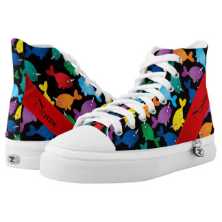 Personalized name black rainbow narwhals High-Top sneakers