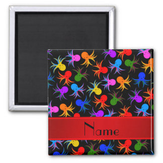 Personalized name black rainbow octopus 2 inch square magnet