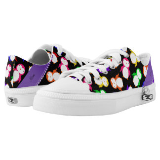 Personalized name black rainbow penguins Low-Top sneakers