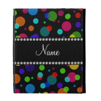Personalized name black rainbow polka dots iPad folio cover