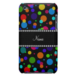 Personalized name black rainbow polka dots Case-Mate iPod touch case