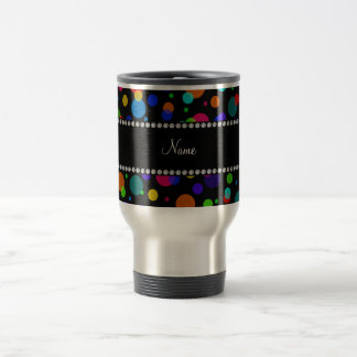 Personalized name black rainbow polka dots 15 oz stainless steel travel mug