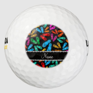 Personalized name black rainbow sandals pack of golf balls
