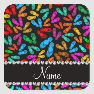 Personalized name black rainbow sandals square sticker