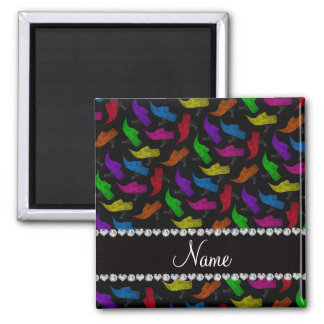 Personalized name black rainbow vintage shoes 2 inch square magnet