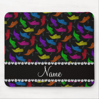Personalized name black rainbow vintage shoes mouse pad