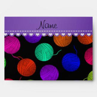 Personalized name black rainbow yarn balls envelopes