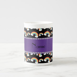 Personalized name black rainbows pattern bone china mugs
