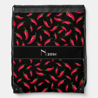 Personalized name black red chili pepper drawstring backpack