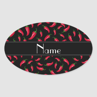 Personalized name black red chili pepper oval sticker