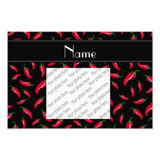 Personalized name black red chili pepper photo print